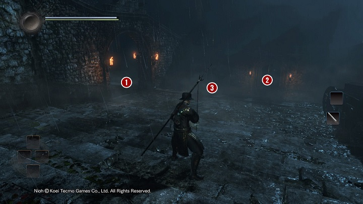 Proceed to the other part of the courtyard, and descend down the stairs - The Man with the Guardian Spirit | Main missions - Main missions - NiOh Game Guide