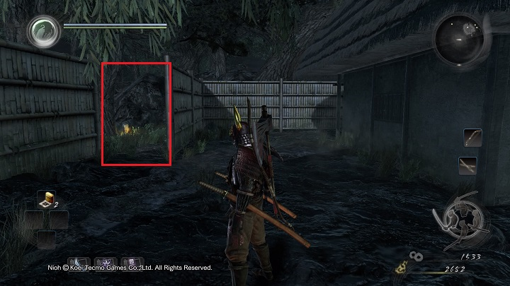Take a look at the passageway on the left (marked with a red rectangle) - Isle of Demons part 1 | Main missions - Main missions - NiOh Game Guide