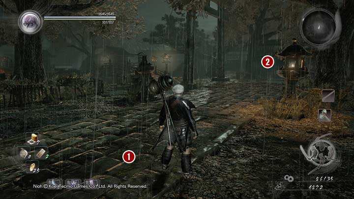 The road is patrolled by one warrior [1] and the next two can be met near the gate [2] at the end of the yard - The Spirit Stone Slumbers | Main missions - Main missions - NiOh Game Guide
