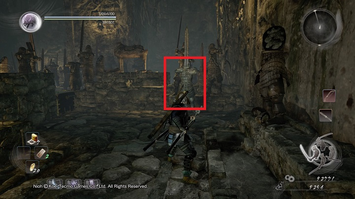 Right after you leave the safe zone, on the left there is a Sentry - The Spirit Stone Slumbers | Main missions - Main missions - NiOh Game Guide