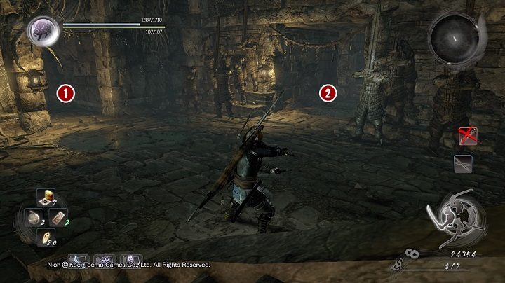 In the next part of the quest you must go on the walls from which the dweller was throwing the bombs at you - The Spirit Stone Slumbers | Main missions - Main missions - NiOh Game Guide