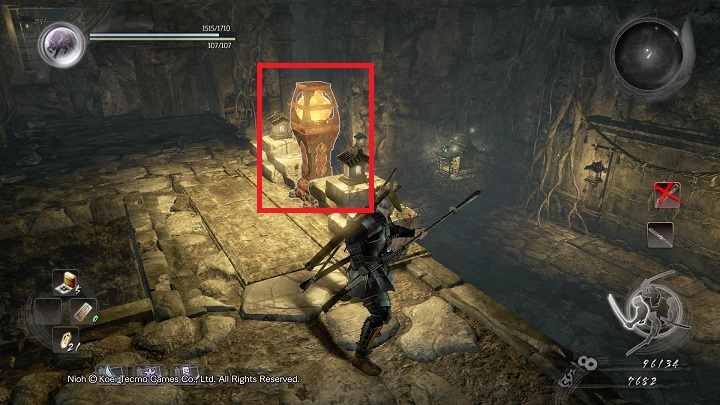Use the lantern from the picture above - The Spirit Stone Slumbers | Main missions - Main missions - NiOh Game Guide