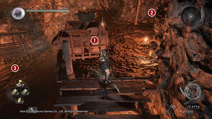 Walk around the fog and reach the place where the dweller was standing - The Silver Mine Writhes | Main missions - Main missions - NiOh Game Guide