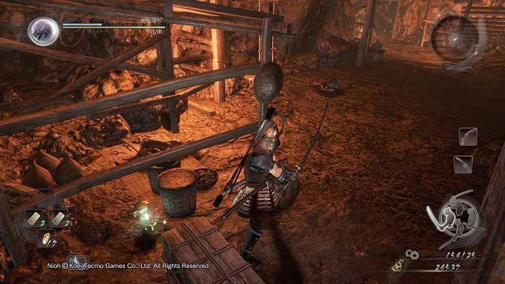 Near the place with the stone you will find a Kodama that will join your Shrine - The Silver Mine Writhes | Main missions - Main missions - NiOh Game Guide
