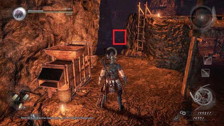 If you go right, in the dead end you will encounter a dweller and you will find a door that cannot be opened yet - The Silver Mine Writhes | Main missions - Main missions - NiOh Game Guide