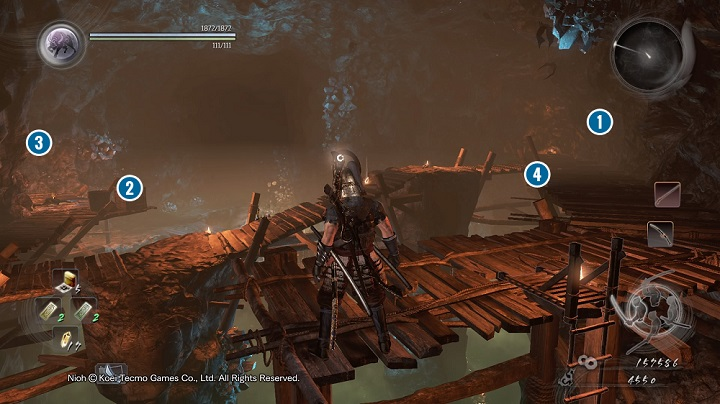 You will notice a few ladders after reaching the lower floor - The Silver Mine Writhes | Main missions - Main missions - NiOh Game Guide