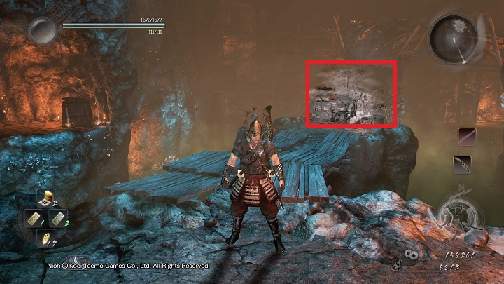 Finally, you must jump down the scaffolding - The Silver Mine Writhes | Main missions - Main missions - NiOh Game Guide