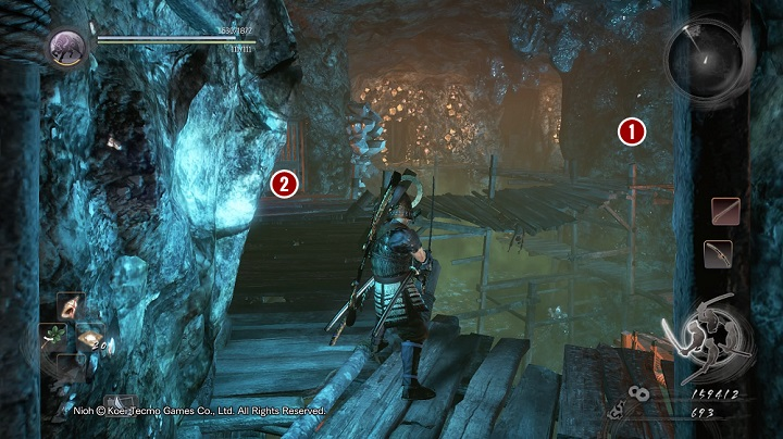 In this chamber there are two rocks that generate the poisonous fog - you can find them on both sides of the pillar [1] shown on the above picture - The Silver Mine Writhes | Main missions - Main missions - NiOh Game Guide