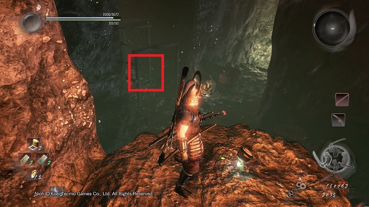 The first spirit is hidden on the ledge shown on the picture - The Silver Mine Writhes | Main missions - Main missions - NiOh Game Guide