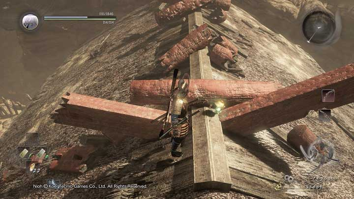 Another Kodama is hidden on the roof of the middle building - The Three Angry Gods | Side missions - Side missions - NiOh Game Guide