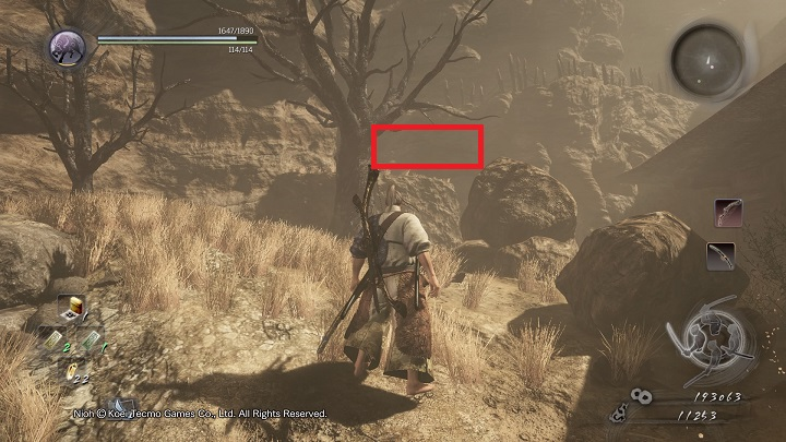 The last Kodama is hidden on the rock ledge that isnt well visible despite the fact that it is located at the beginning of the location - The Three Angry Gods | Side missions - Side missions - NiOh Game Guide