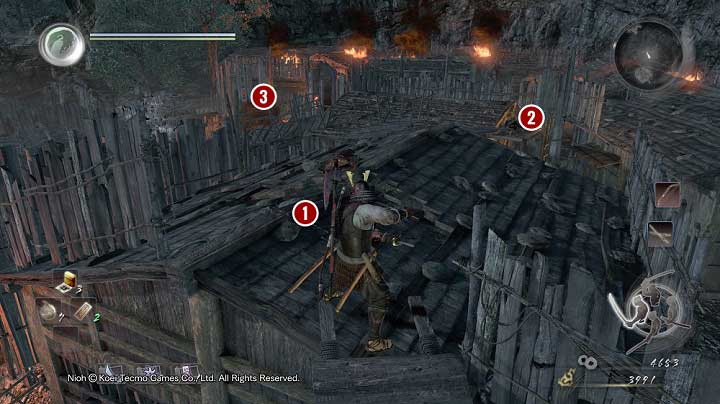 The roof on which they stood is broken which means that if you got on it, you would fall down and land right in front of a heavy armored samurai - Isle of Demons part 2 | Main missions - Main missions - NiOh Game Guide