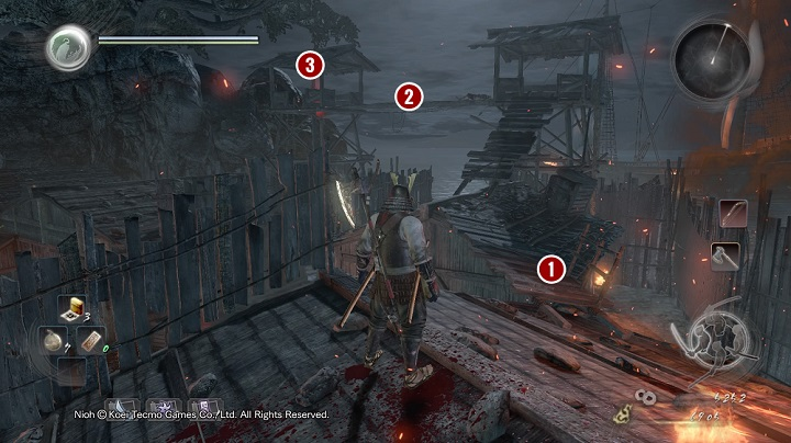 If you stay on the roofs then you should know that on the near wooden catwalk there is a warrior with a spear which cant be seen because of the smoke - Isle of Demons part 2 | Main missions - Main missions - NiOh Game Guide