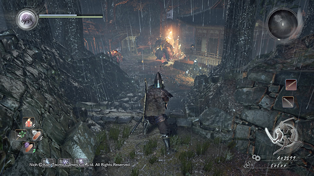 Avoid the crystal and enemies by going right - The Demon of Mount Hiei | Main missions - Main missions - NiOh Game Guide