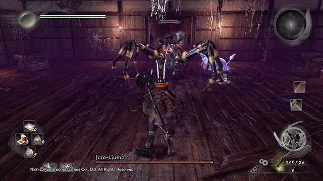 The fight takes place in an arena inside of a castle - Joro-Gumo | Boss battle - Boss Encounters - NiOh Game Guide