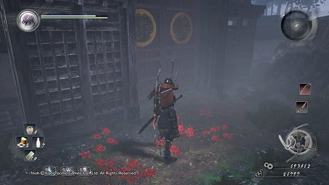 After opening the gate you will enter a yard - Memories of Death Lilies | Main missions - Main missions - NiOh Game Guide