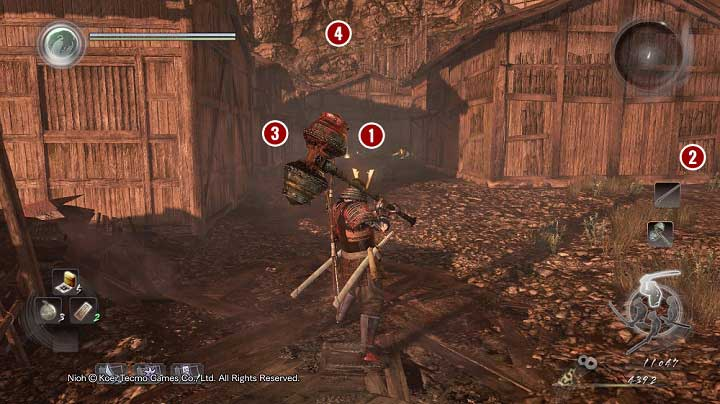 Right after you enter, you will spot a samurai [1], whom you could easily eliminate with a shot to the head - Death to Bandits | Side missions - Side missions - NiOh Game Guide