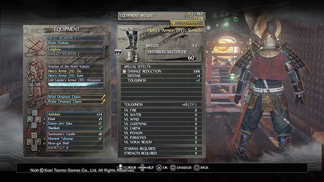 In your inventory, armor is divided into individual elements - Armors | Equipment - Equipment - NiOh Game Guide