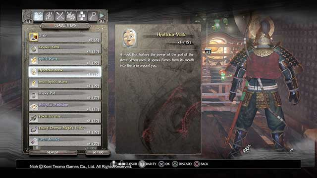 Hyottoko mask is one of the more interesting items - Usable items and mission items | Equipment - Equipment - NiOh Game Guide