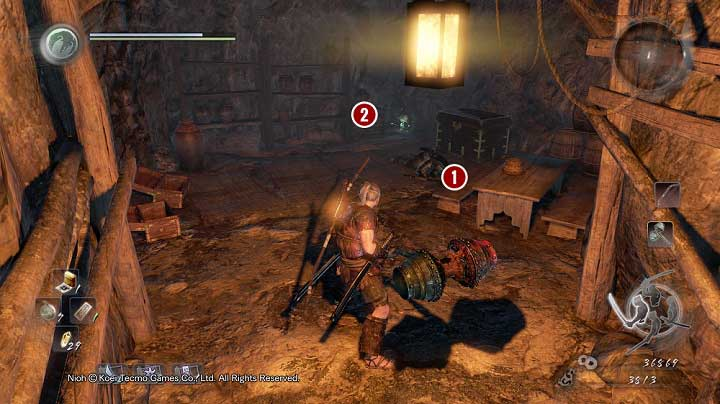 After you have dealt with Nurikabe (the opponent disguised as a wall), you can obtain several items and enter a chamber with samurais - Deep in the Shadows | Main missions - Main missions - NiOh Game Guide
