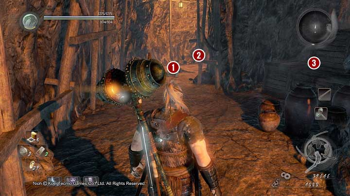 Since there is a checkpoint around, it is a good idea to defeat the opponents here, who are not too demanding if only you draw them out into open - Deep in the Shadows | Main missions - Main missions - NiOh Game Guide
