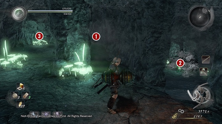 As you proceed, you will find a recess on the left - Deep in the Shadows | Main missions - Main missions - NiOh Game Guide