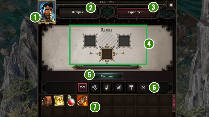 The panel shown above is used to connect equipment elements to create a completely new, typically better, item - Game Interface | Basics - Basics - Divinity: Original Sin II Game Guide