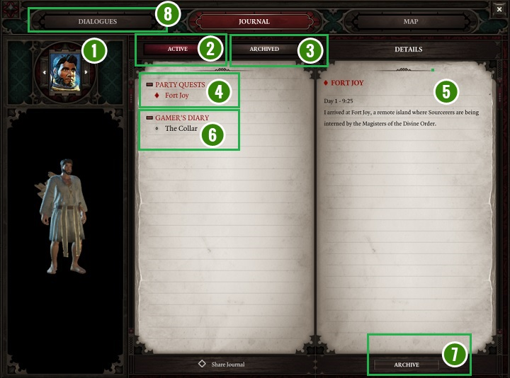 The above screenshot shows the journal contents of the individual hero - Game Interface | Basics - Basics - Divinity: Original Sin II Game Guide