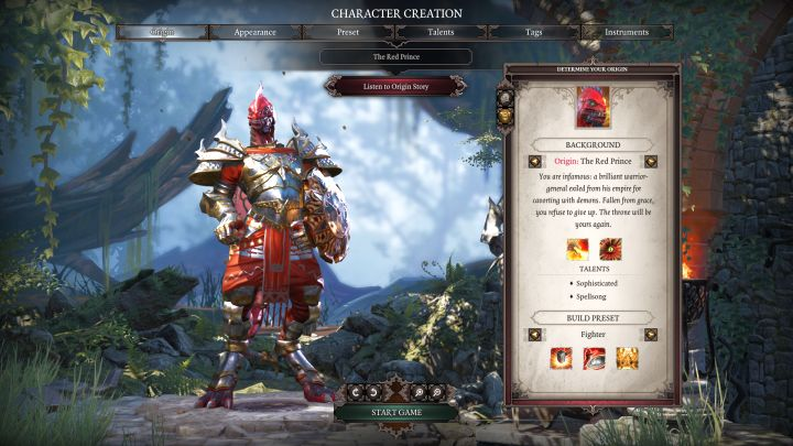 The Red Prince and his default class, Fighter. - The Red Prince | Characters - Characters - Divinity: Original Sin II Game Guide