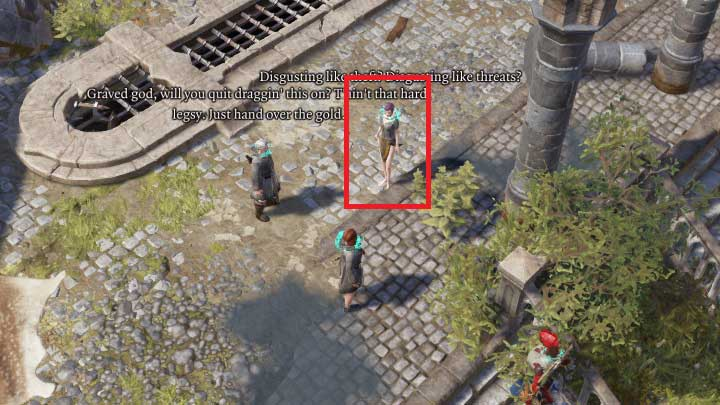 Right after you enter Fort Joy Ghetto, you will notice three NPCs talking to each other - The Shakedown / Every Mothers Nightmare | Act I - Chapter II - Fort Joy - Divinity: Original Sin II Game Guide