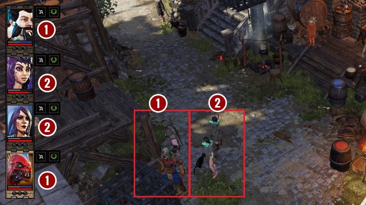 Assuming that there are four heroes in the party, you can place them in any formation, depending on who you want to place at the front - Combat in Divinity Original Sin 2 - Basics - Divinity Original Sin 2 Guide