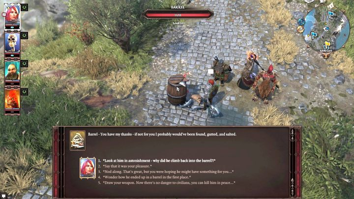 Even a conversation with a barrel can offer you new possibilities. - Starting tips for Divinity Original Sin 2 - Tips & Tricks - Divinity Original Sin 2 Guide