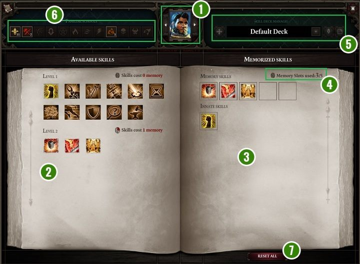 The above panel allows for managing the available skills for the currently chosen hero - Game Interface in Divinity Original Sin 2 - Basics - Divinity Original Sin 2 Guide