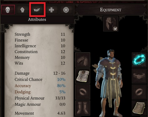 You can look up civilian abilities of the character in a specific tab of the character window. - Civilian | Abilities - Skills And Abilities - Divinity: Original Sin II Game Guide