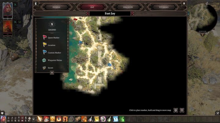Location of a shovel and a bedroll on the map. - Where to find a shovel and a bedroll? | FAQ - FAQ - Divinity: Original Sin II Game Guide