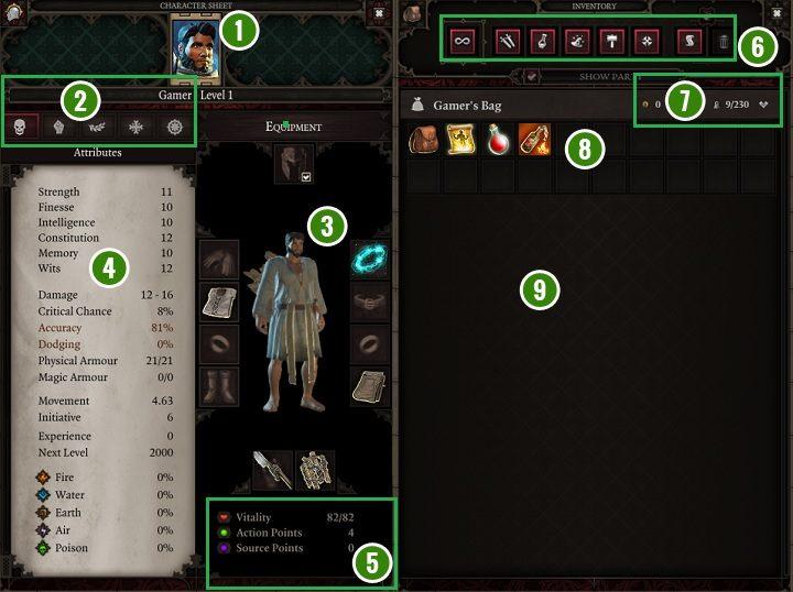 1 - Игровой интерфейс в Divinity Original Sin 2 - Основы - Руководство по Divinity Original Sin 2