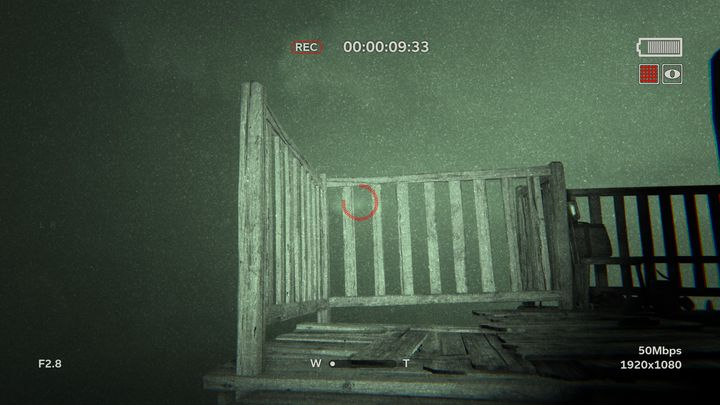 When you are walking on the stairs point the camera straight in front of you because as you hear the characteristic sound you can also see a flash that should be recorded (Distant Towers #4) - The Lake | Lamentations | Walkthrough - Lamentations - Outlast 2 Game Guide
