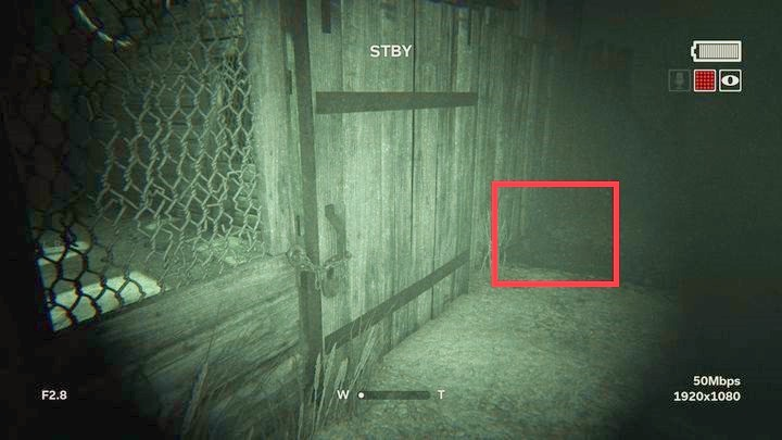 In the building, you will find bandages and a battery - The Crash | Genesis | Walkthrough - Genesis - Outlast 2 Game Guide
