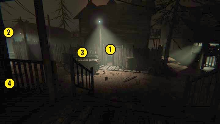 There is a hole in the fence [1] ahead of you and a gate to your left [2] - The Chapel | Genesis | Walkthrough - Genesis - Outlast 2 Game Guide
