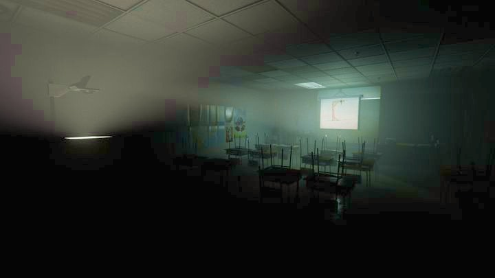 In one of the classrooms, you will find the slide on which schoolgirls played hangman - Inner Demon | Genesis | Walkthrough - Genesis - Outlast 2 Game Guide