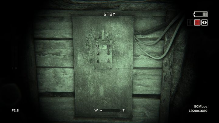 On the left of the corridor with protruding cables you can find one power switch - Vals Rebirth | Leviticus | Walkthrough - Leviticus - Outlast 2 Game Guide