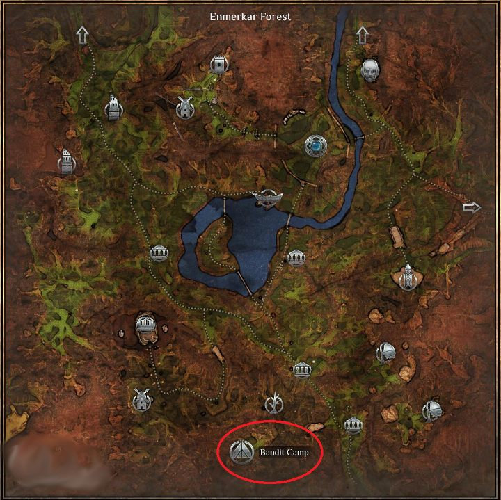 The final objective of the quest is to kill two bandits who reside at Bandit Camp, that is, in the southern part of Enmerkar Forest - the place was marked on the map above - Tending the Flame - Outward Walkthrough - Heroic Kingdom of Levant - Outward Guide
