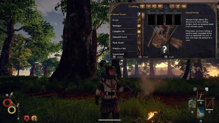 To make items such as arrows, armor, or fire, you need to open the crafting tab in the backpack - Crafting in Outward - Tips - Outward Guide