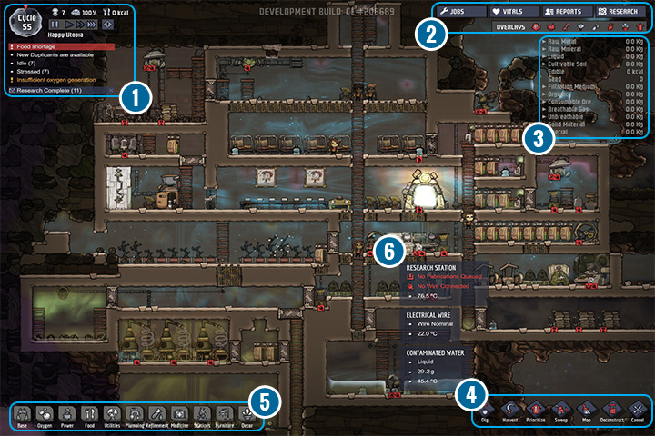1 - Main Screen - Interface - Oxygen Not Included Game Guide