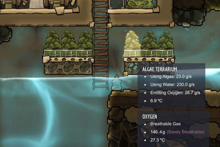 The Algae Terrariums are an interesting alternative to other oxygen production methods. - Oxygen - Description of objects and structures - Oxygen Not Included Game Guide