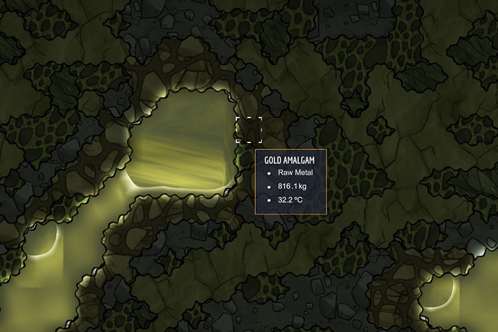 Gold Amalgam - Minerals, rocks and metals | Resources - Resources - Oxygen Not Included Game Guide