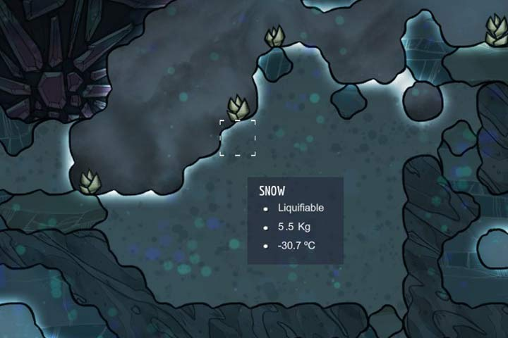 Snow - a lighter from of ice, which can be melted to obtain water - Minerals, rocks and metals | Resources - Resources - Oxygen Not Included Game Guide