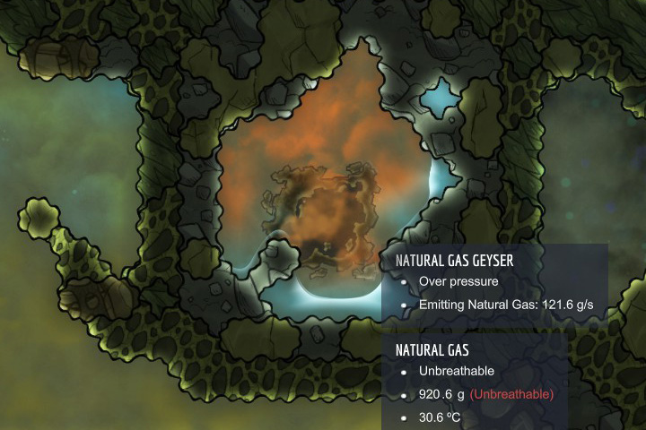 Natural gas - a flammable, unbreathable gas - Gases | Resources - Resources - Oxygen Not Included Game Guide