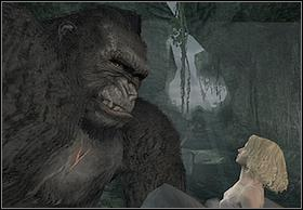 You will reach the place, where Ann will go through the opening in the wall (too small for you) - Kong - Walkthrough - Peter Jacksons King Kong - Game Guide and Walkthrough