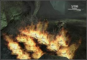 Take advantage of lighted spear and set the shrubbery on fire to clear the way for comrades - Swamps - Walkthrough - Peter Jacksons King Kong - Game Guide and Walkthrough